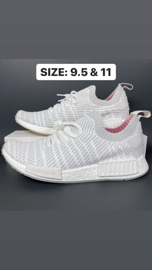 Photo ADIDAS NMD R1 STLT PRIMEKNIT CLOUD WHITE MENS SHOES SIZE 9.5 & 11 NEW