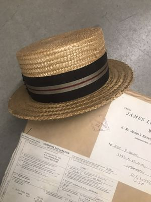 Straw boater hat 1940s in original box from London for Sale in Washington, DC
