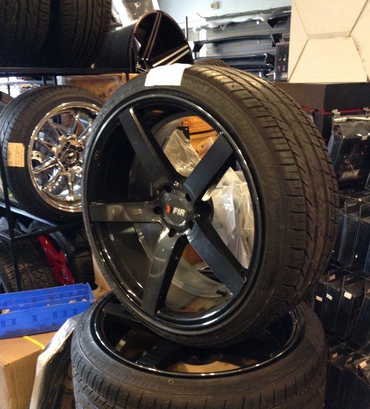 F1R 20x9.5 5x114.3 (4.5) low offset wheels tires 245-35-20 Road Hugger GT Ultra