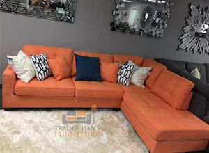 Brand New Citrus Color Linen Sectional Sofa Couch + Ottoman for Sale in Wheaton-Glenmont, MD