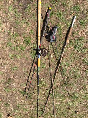 Photo Vintage fishing poles penn reels Fly rod spinning rod heavy action rod