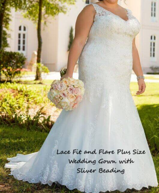 Lace Fit and Flare Plus Size wedding gown with Silver Beading for Sale in  San Jose, CA - OfferUp
