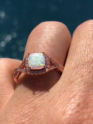 18k Rose Gold plated Fire Opal Engagement/Wedding Twist Ring Size 5,6,7,8,9,10 for Sale in Miami, FL