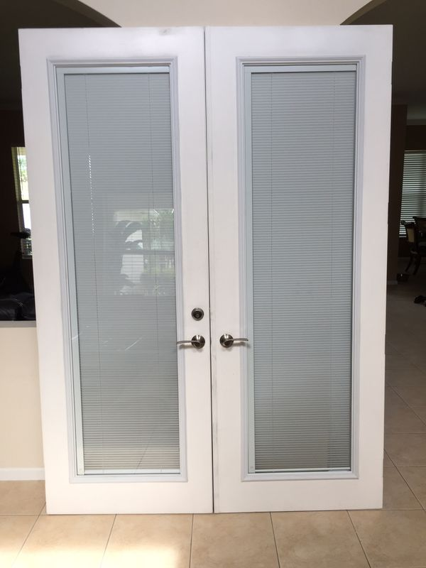 French Doors With Built In Mini Blinds on
