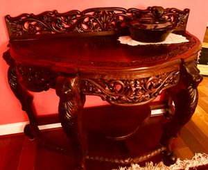 Hand-Carved Rosewood Console Table + Stone Water Fountain Table Piece for Sale in Silver Spring, MD