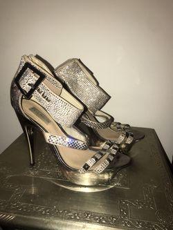 Steve Madden Gold Sparkly Rhinestone Ankle Cuff Stillettos - Size 10 Thumbnail