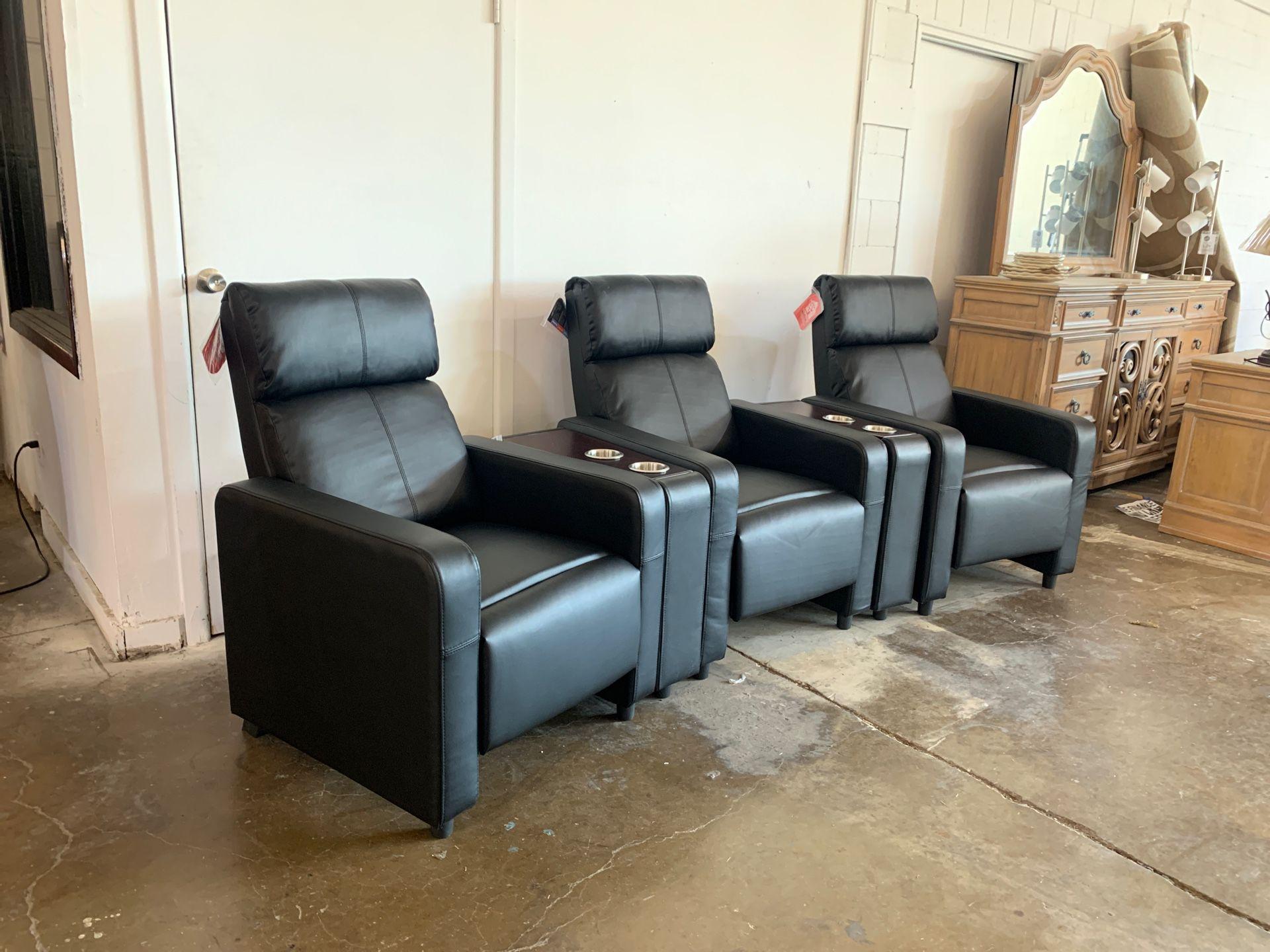Three piece theater recliner set