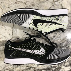 Nike Flyknit Racer Running Shoes Mens 13 Black White Volt 526628 011 for Sale in Arlington, VA