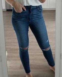 Womens high waist blue jeans Thumbnail