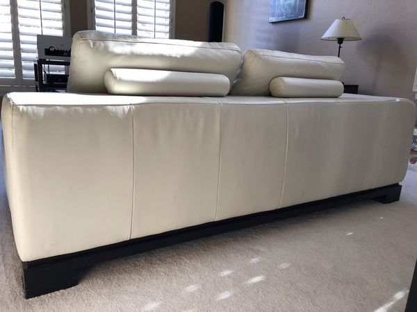 Z Gallerie Off White Leather Sofa Chaise 2 Piece Sectional