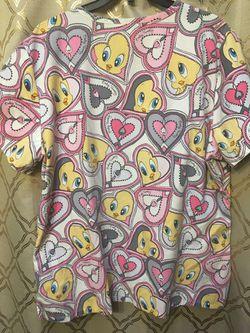 Women's scrub top looney tunes tweety bird hearts Large Thumbnail