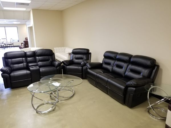 Black New Shava Genuine Leather 3pc Living Room Sofa Set For