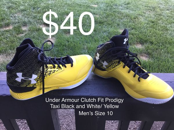 brand new ec0da 6bf17 ... low price under armour clutch fit prodigy taxi black and white yellow  sneakers shoes mens size