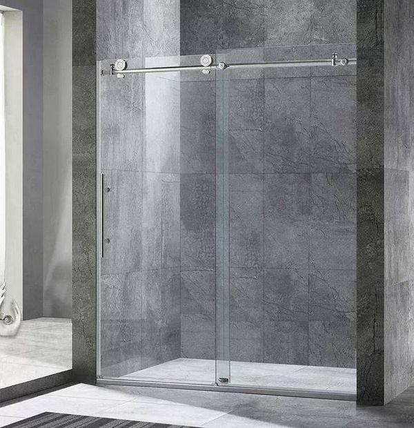 """WoodBridge 60"""" X 76"""" Single Sliding Frameless Shower Door"""