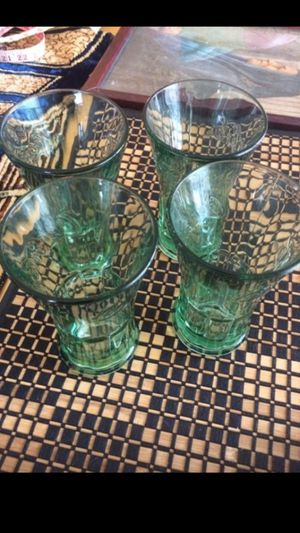 Four Coca-Cola bar glasses and for bamboo woven placemats for Sale in Apex, NC