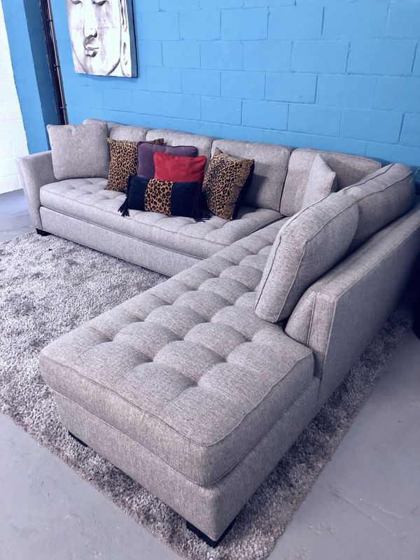 Cindy Crawford Calvin Heights XL Gray 2PC Sectional Sofa (Free ...