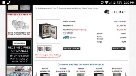 Uline digital deep fridge or mini fridge Thumbnail
