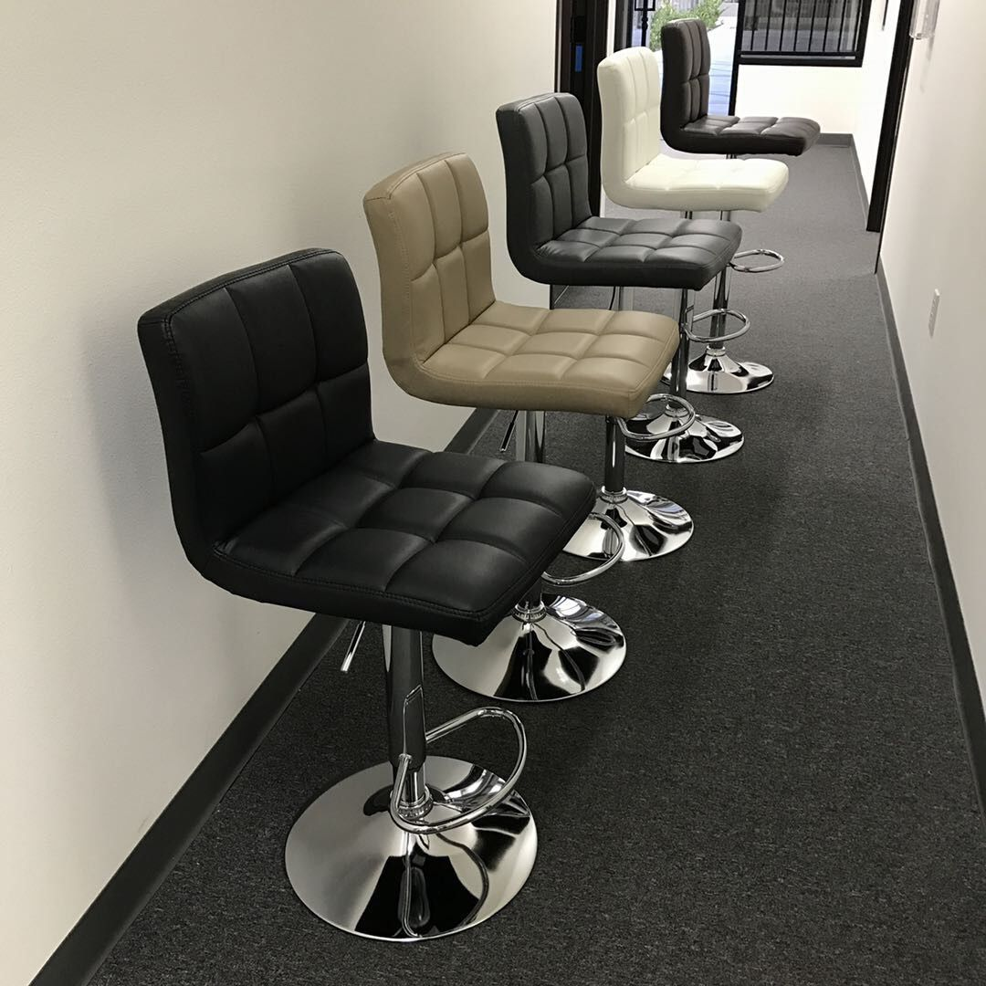 """NEW $45 each Seat Height Adjustable From 24"""" to 33"""" Inch Swivel Barstool Bar Stool Counter PU Leather Chair White Brown Black or Grey Gray Color"""