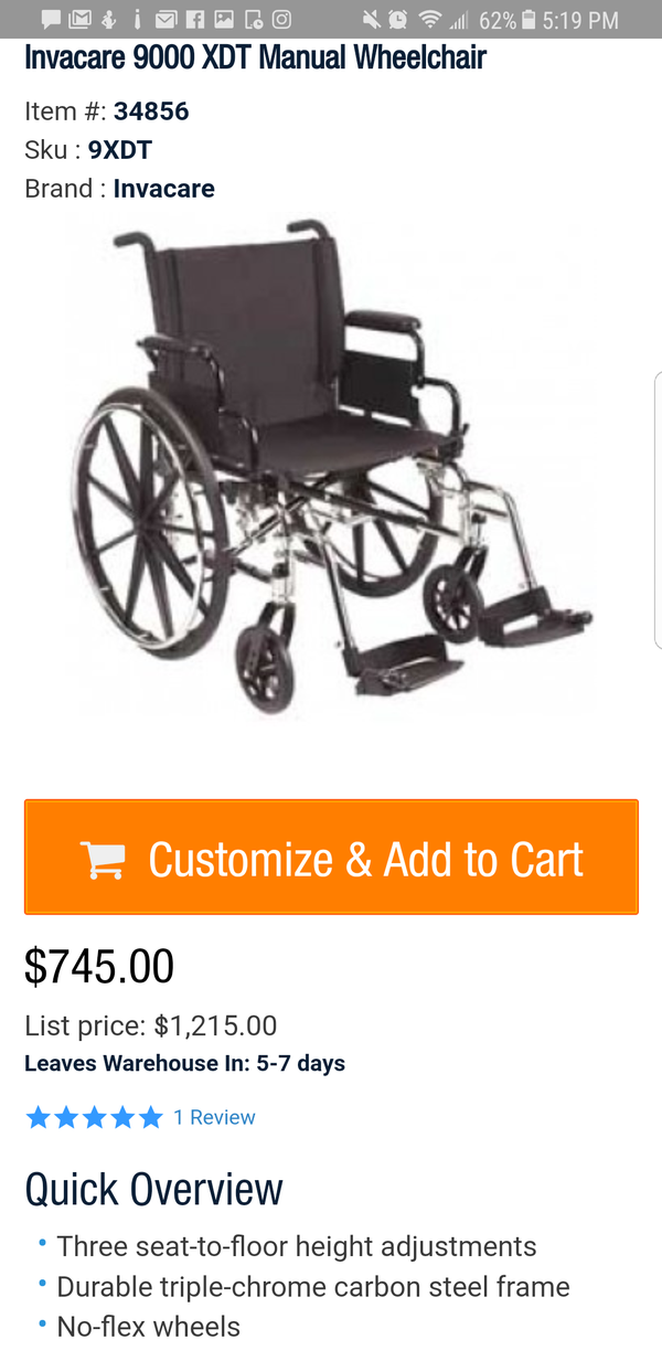 Wheelchair 9000 XDT  (New) for Sale in Absecon, NJ - OfferUp