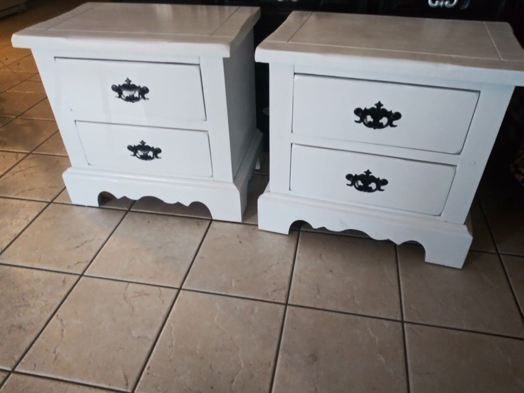 Two white night stands