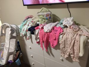Newborn onsies, pants, shoes, swaddle me swaddles, swaddle me sleep used once, shoes etc not everything pictured for Sale in Washington, DC