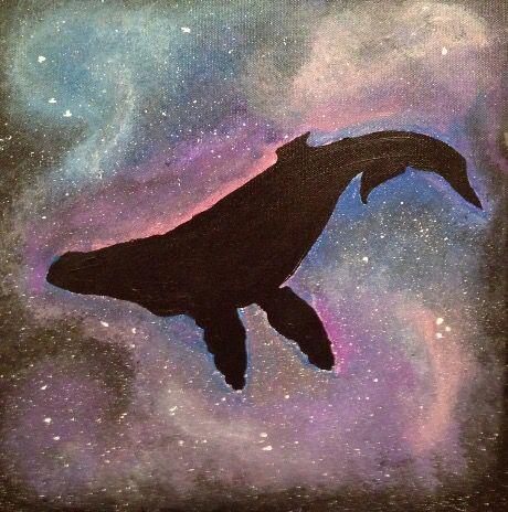 Original painting galaxy whale canvas wall art home decor