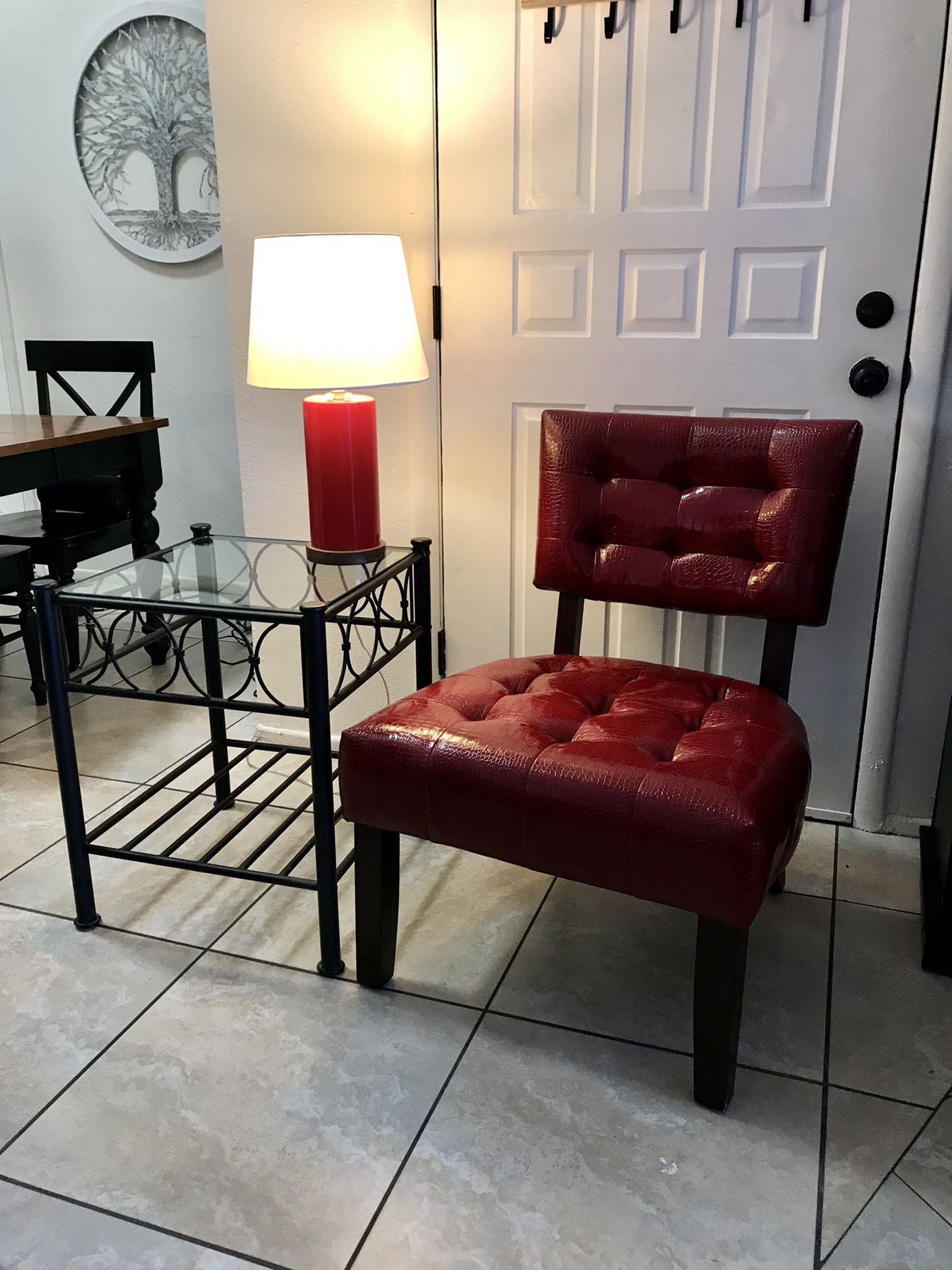 Accent Chair, Table, Lamp