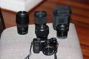 Sony alpha a6000 mirrorless camera with 5 lenses for Sale in Germantown, MD