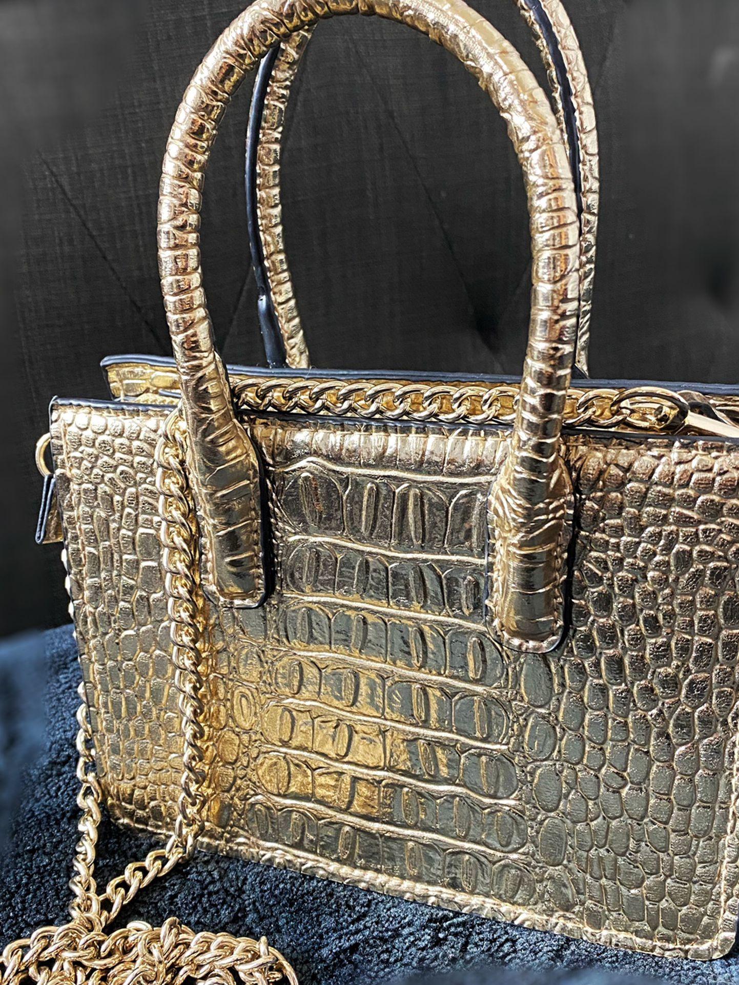 H&M Gold Alligator Print