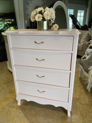 Photo Blush Pink Dresser Chest w/ Gold Leaf Drawer Pulls
