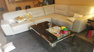 Leather sectional sofa modern with tables for Sale in Seattle, WA