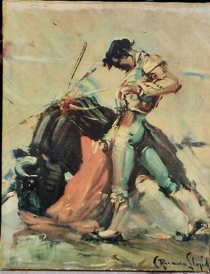 Fighting bull painting on canvas for Sale in Salt Lake City, UT