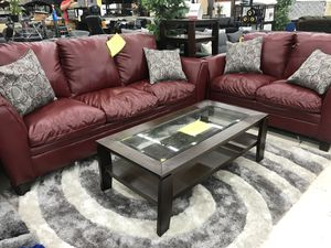 RED BONDED LEATHER LIVING ROOM SET SOFA AND LOVESEAT ON SALE for Sale in Hyattsville, MD