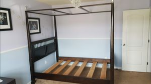 Queen Canopy Bed - Espresso - Great Shape for Sale in Fuquay Varina, NC