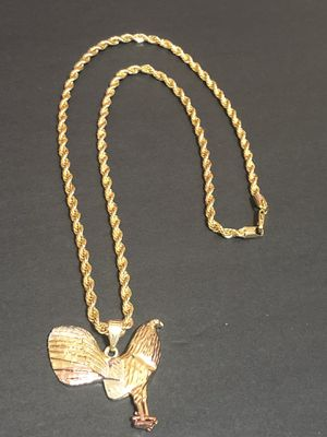 Rope style GOLD PLATED OVER BRASS 4mm Necklace 24inches In Length With Tri Color Rooster Charm for Sale in Orlando, FL
