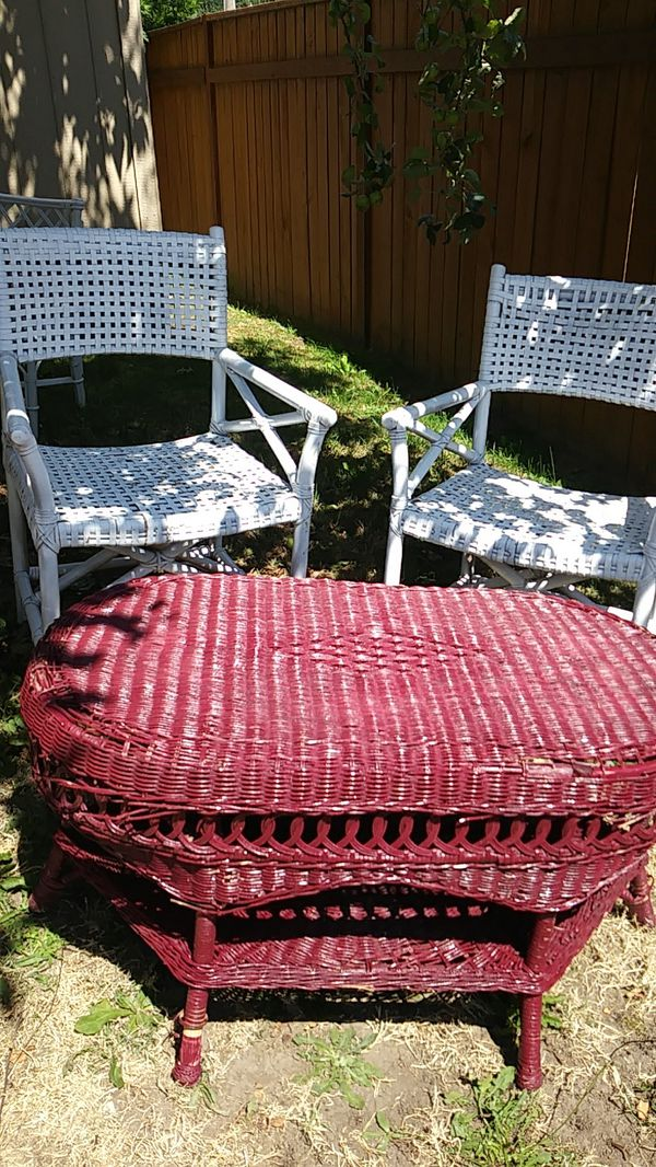3 Piece set wicker coffee table + 2 chairs (Home & Garden) in ...