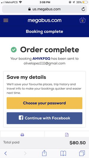 MEGA BUS TICKETS BACK TO Los Angeles CA for Sale in Las Vegas, NV