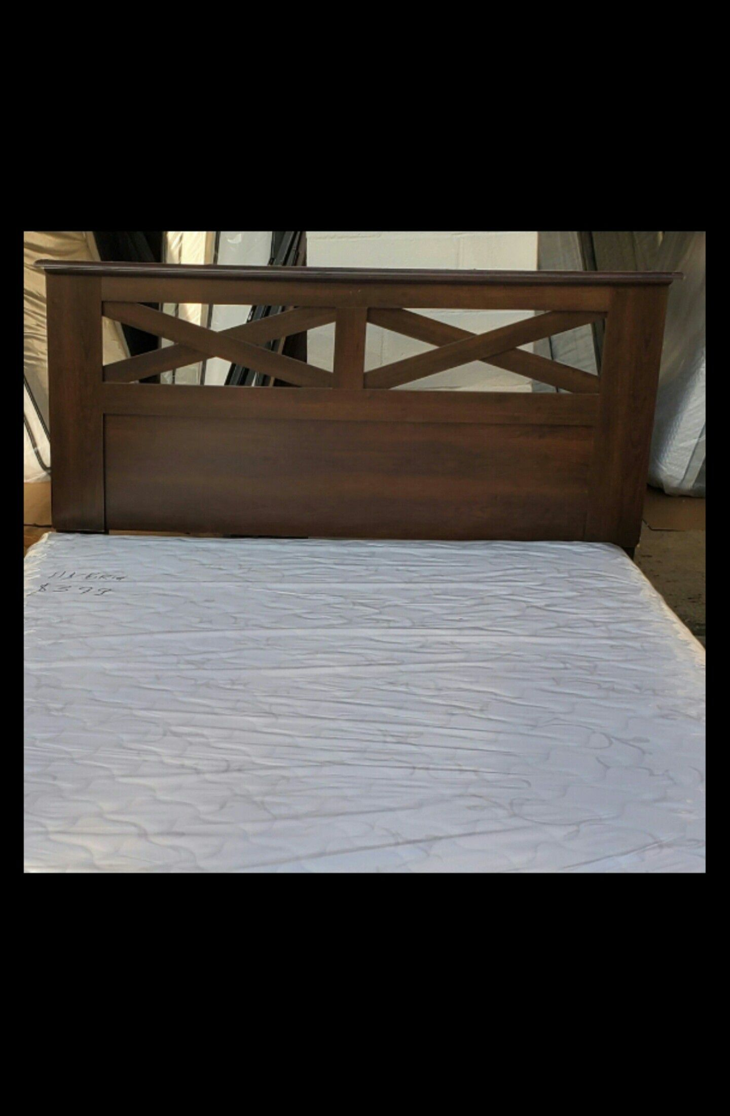 headboard frame 100 Queen size bed set can deliver pillow top new