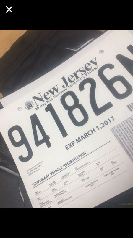 NEW Jersey Temporary Plates with registration for Sale in Englewood, NJ -  OfferUp