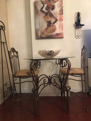 Three piece Bistro Dining metal and glass table set for Sale in Miami, FL