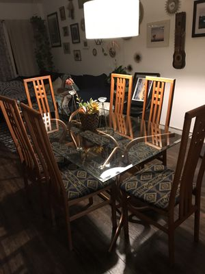 San Diego CA Beautiful Vintage Glass Rose Gold Brass Dining Table For Sale In La Costa