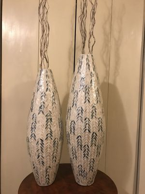 """Set of 2 mosaic teal beige capiz vases 35""""$33"""" check out my other items on this page message me if you interested gaithersburg md 20877 for Sale in Gaithersburg, MD"""