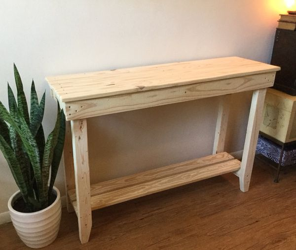 Unfinished Wood Sofa Table Entryway Console Tall Shelf Side Accent Farmhouse Display Custom Handcrafted