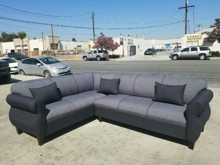 NEW 7X9FT ELITE CHARCOAL FABRIC SECTIONAL COUCHES