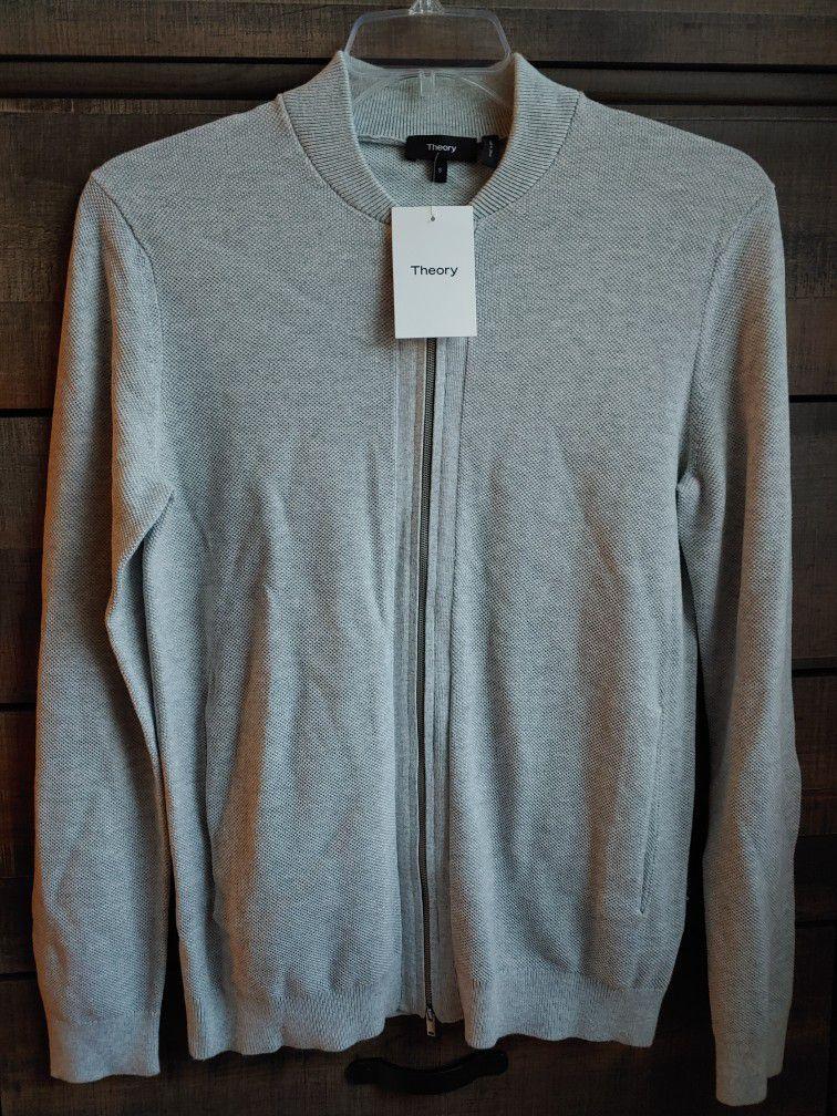 Theory Lievos Breach Melange Zip Cardigan Light Grey Men's Sweater Jacket