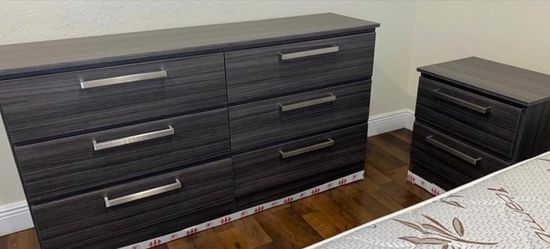 NEW GRAY DRESSER CHEST AND 2 NIGHTSTANDS. ALSO SOLD SEPARATELY  Thumbnail