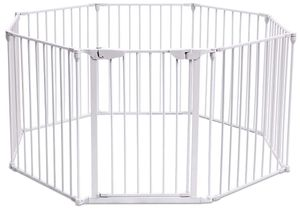 Costzon Baby Safety Gate, 204-Inch Wide Barrier with Walk-Through Door (white, 8 panel) for Sale in Washington, DC