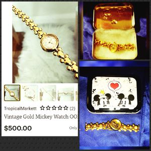 Photo Rare 1980's vintage/Collectable Lorus Gold Disney Mickey watch -water resistant