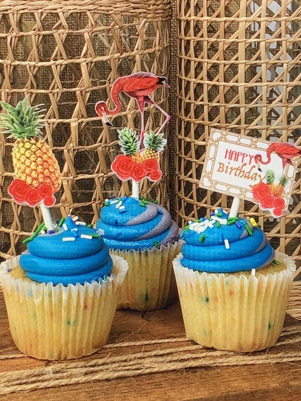 Set Of 12 Flamingo Luau Cupcake Toppers Birthday Party