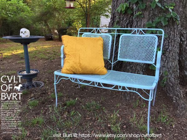 Iconic 1940 S Vintage Wrought Iron Mesh Outdoor Patio Garden Porch Lawn Loveseat Style Bench Seat Sea Mist Shabby Chic Rustic Cottage Finish